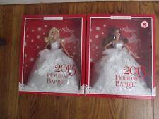 Lot of 2 2013 Holiday Barbie Blonde & Brunette HTF