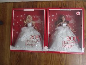Lot of 2 2013 Holiday Barbie Blonde & Brunette HTF