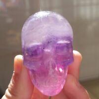 114gTOP!! NATURAL  Fluorite Quartz Crystal SKULL Healing D3791