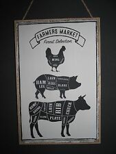 Classic Style Farmers Market Wood Wall Hanging Plaque Meat Cuts Cow Pig Chicken
