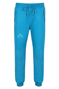 Mens Real Leather Trouser Sweat Track Electric Blue Pant Zip Jogging Bottom 3040