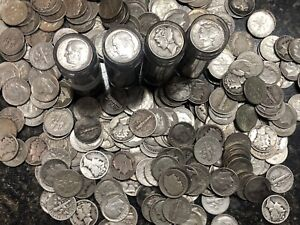 Full Date Roll Of (50) 90% Silver Dimes, Mix Of Roosevelt & Mercury Dimes!