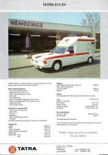 Tatra 613 SV Ambulance English market sales brochure/leaflet