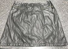 Ladies Black Faux Leather Skirt Size 16 Bnwt
