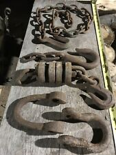 Antique Iron Barn Hardware, Post & Beam Steampunk Art, Original Chain Forge Old,