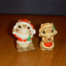 Hallmark Merry Miniature Christmas Mr & Mrs Santa Chipmunk Lot of 2