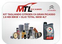 KIT TAGLIANDO CITROEN C4 GRAN PICASSO 1.6 HDI 80KW + OLIO TOTAL 5W30 4LT