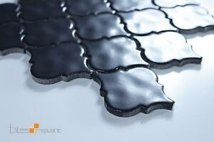 Lantern Handmade-Look Matt Black Ceramic Mosaic Tile Sheet 286x306