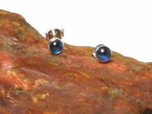 Round Blue  KYANITE  Sterling  Silver  925  Gemstone  Stud  Earrings -  4 mm