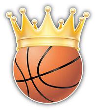 Basketball Ball Golden Crown Car Bumper Sticker Decal 4'' x 5''