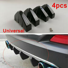 4pc Shark Fin Lip Wing Diffuser Rear Bumper Chassis Carbon Fiber PVC Universal