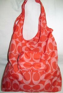 Coach Poppy Orange Signature C Nylon Folding Shopper Travel Tote Shoulder Bag