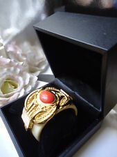ESCADA Stunning HUGE Vintage Gold Toned Faux Coral & Lucite ? Bangle NEW IN BOX