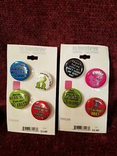 LOT OF 8 Assorted Sayings BUTTONS PINS