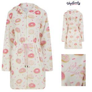 Womens Ladies Tokyo Laundry Fleece Doughnut Zip Dressing Gown Hooded Bath Robe