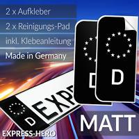 2x Kennzeichen Aufkleber Schwarz Nummernschild EU Feld Blau D Sticker Set - MATT
