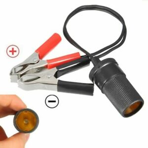 15A Car Lighter Socket To Car Battery Alligator Clip Charger Converter