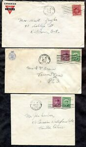 p944 - Canada WW2 Lot of (3) Covers. Camp Borden MPO 202. Military