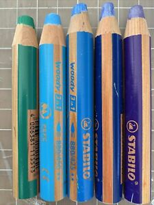 Lot Of 5 Stabilo All Woody 3 In 1 Water Soluble Pencils Cool Colors