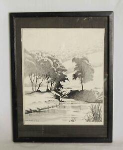 Framed Pen and Ink Landscape Drawing of a River Bank Scene