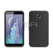 Fits Motorola Google Nexus 6 Case Hybrid Impact Shockproof Rugged Cover - Black