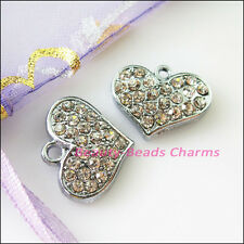 4Pcs Dull Silver Lovely Heart Crystal Charms Pendants 14x18mm