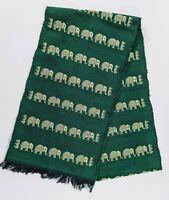"""Green & White Elephant Handwoven Table Runner 9"""" x 70"""" Jacquard Black Fringe"""
