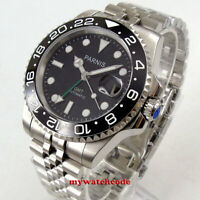 40mm PARNIS black dial ceramic green GMT hand Sapphire glass automatic men watch