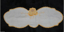 Vtg Floral Butterfly Fabric Doily Applique Gold Yellow Purple Doilie Linen Mat