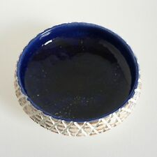 "POOLE DELPHIS CARVED 6"" FRUIT BOWL COBALT BLUE #87 UNSIGNED 60'S RETRO ABSTRACT"