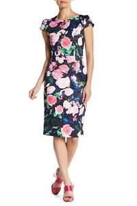 Betsey Johnson Women's Floral Printed Scuba Dress Casual US Size 4