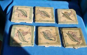 6 x Antique / Vintage Handmade & Handpainted Ceramic Tiles Fish design pre used