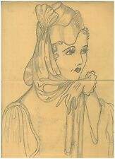 Original Art Work Ruth M Sherwood Pencil Sketch of Woman Item 2