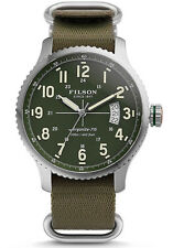 New $600 Filson Mackinaw Field Watch 43mm Green Dial Nylon Strap Men's Watch