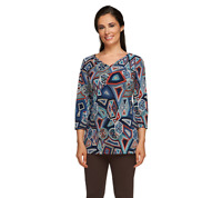 Attitudes by Renee 3/4 Sleeve Printed V-Neck Tunic OLIVE FLORAL Color Size S