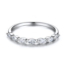Wedding Band 0.5ct 100% Genuine Moissanite Marquise 4x2mm Ring Sterling Silver