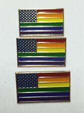 "LOT OF 3 NEW Gay Pride Rainbow American Flag Enamel 1"" Lapel Pins Badge USA VOTE"