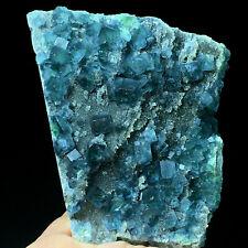293g Dark Green Translucent Cube Fluorite & Smoked Crysta Mineral Specimen/China