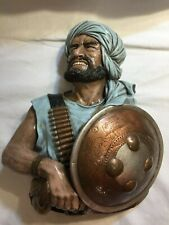 RARE BLUE Large 1967 Bossons England Pathan Chalkware Head hand painted wall