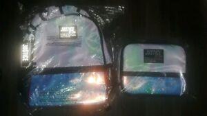 Justice tye dye star logo Backpack/lunchbox/prncil pouch set NEW