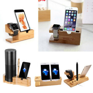 Wood Bamboo Charge Dock Station Stand Holder For Apple Watch iPhone iPad Samsung