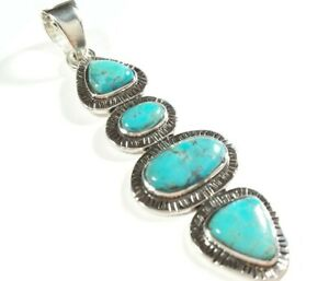 """925 STERLING SILVER ELONGATED ETCHED DESIGNS TURQUOISE 2 3/16"""" x 11/16"""" PENDANT"""