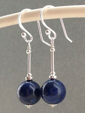 Beautiful Round Lapis Lazuli Gemstones Sterling Silver Drop Earrings