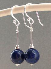 Beautiful Round Lapis Lazuli Gemstones Sterling Silver Drop Earrings