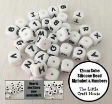 5PC 12mm Silicone Bead Cube Letters Numbers Dice Beads (was teething) Alphabet