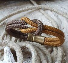 """Armband Segeltau """"Knoten"""" Safran Braun mit Magnetverschluss bronzefarben"""