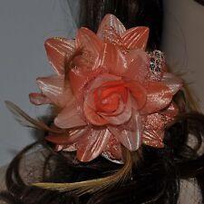 Haargummi Feder Brosche Stoffblume Rose LACHS rosa orange hellrosa Ansteckblume