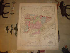 1856 ANTIQUE SPAIN PORTUGAL HANDCOLORED MORSE MAP NR