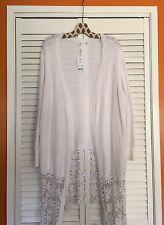 3X White Crocheted Lace Cardigan Sweater Cotton KIMONO Jacket Duster Top 2X