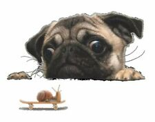 """Dog Puppy Pug Decal 3D Sticker Snail Wall Laptop Car Toilet 10"""" X 8"""" Removable"""